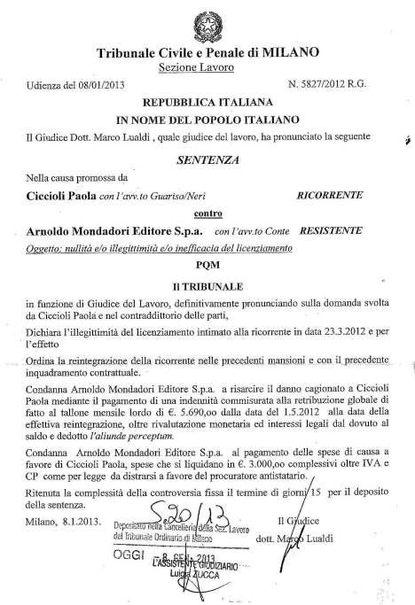 CICCIOLI - ARNOLDO MONDADORI - TRIB MILANO - DISP. DELL'8.1.13