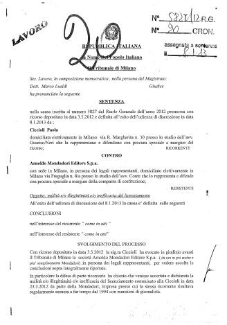 CICCIOLI - ARNOLDO MONDADORI - TRIB MILANO - SENT 20-13 DEL 18