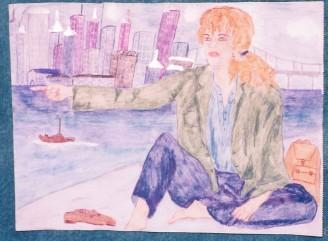 Giovane donna in viaggio, disegno di Maria Elena Sini (1996 circa)