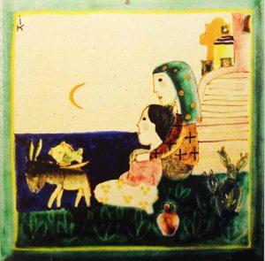 Una mattonella  di Vietri firmata da Irene Kowaliska