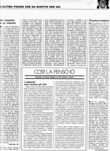 L'ultima pagina scritta da Brunella su Annabella